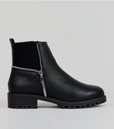 Teens Black Zip Trim Boots  | New Look