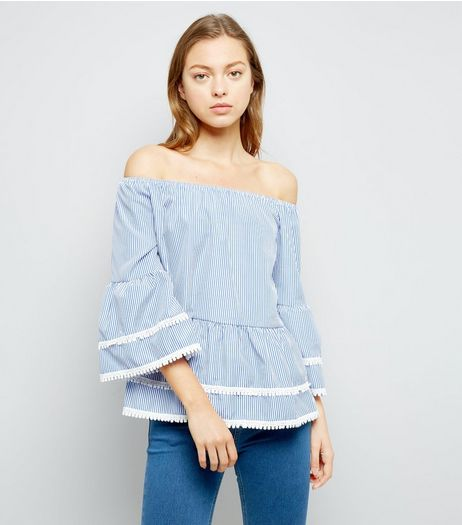 Blue Stripe Lace Trim Bardot Neck Top  | New Look