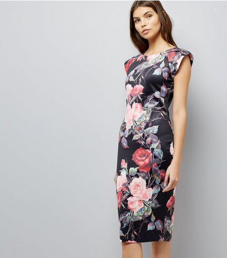 AX Paris Black Floral Print Bodycon Midi Dress  | New Look