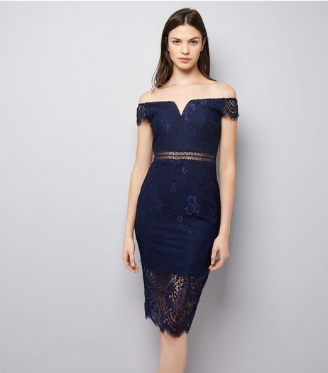 AX Paris Navy Lace Bardot Neck Midi Dress | New Look