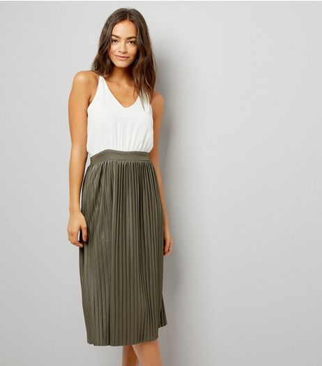AX Paris Khaki Pleated Skirt Dress | New Look