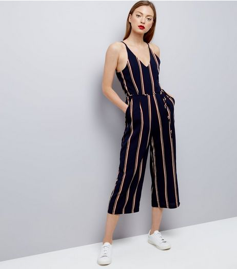 AX Paris Navy Stripe V Neck Jumpsuit  | New Look