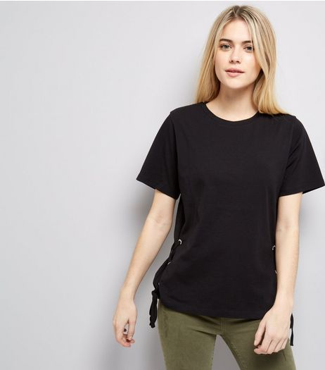 Black Lace Up Side T-Shirt  | New Look
