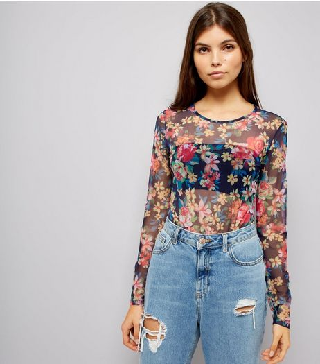 Black Mesh Floral Bodysuit | New Look