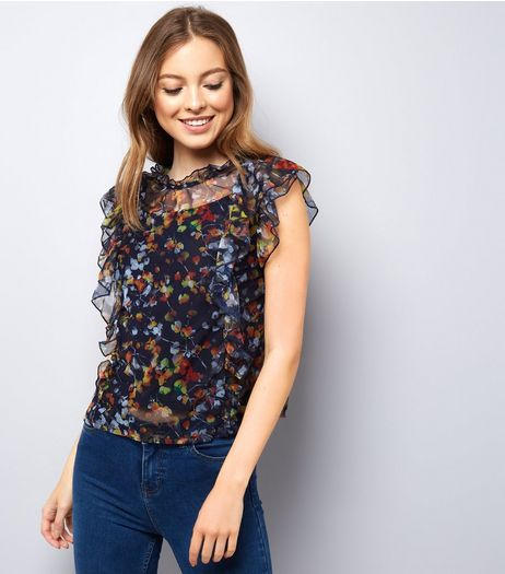 Navy Floral Print Frill Trim Mesh Top | New Look