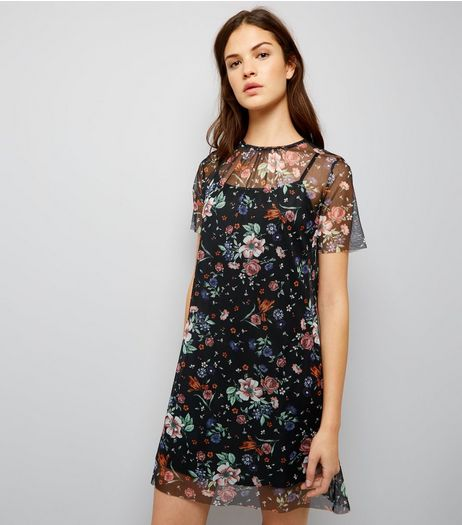 Black Floral Mesh Print 2 in 1 Dress | New Look