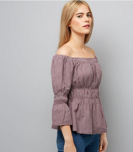 Red Check Bell Sleeve Bardot Neck Top | New Look