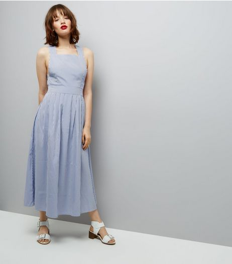 QED Blue Pinafore Dress  | New Look