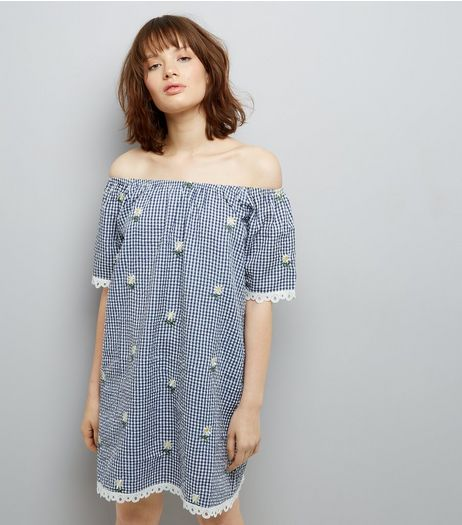 Navy Gingham Daisy Emroidered Bardot Neck Dress | New Look