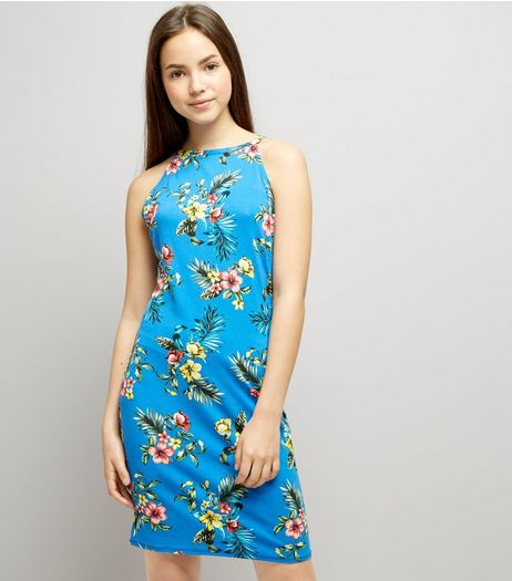 Teens Blue Tropical Print High Neck Bodycon Dress | New Look