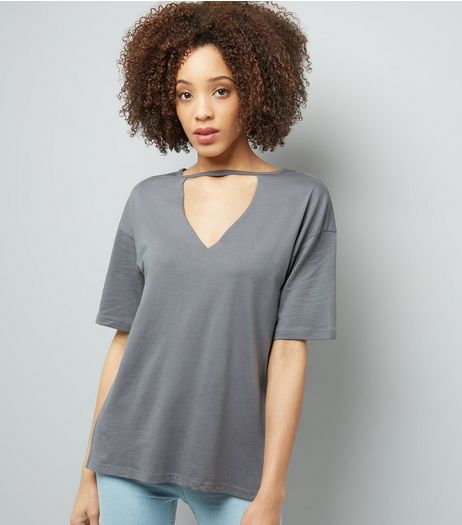 Dark Grey Choker Neck T-Shirt | New Look