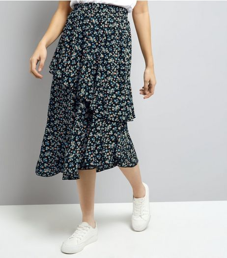 Cameo Rose Blue Ditsy Floral Print Frill Layered Midi Skirt | New Look