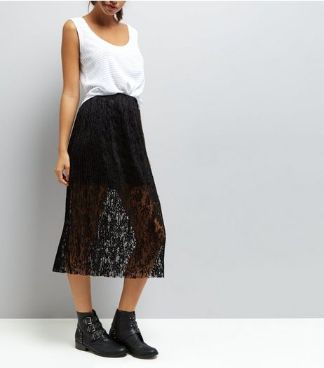 Black Pleated Lace Half Lined Midi Skirt | New Look