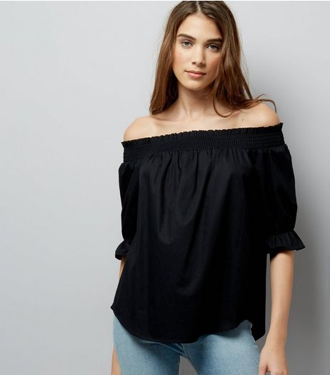 Black Dip Hem Bardot Neck Top | New Look