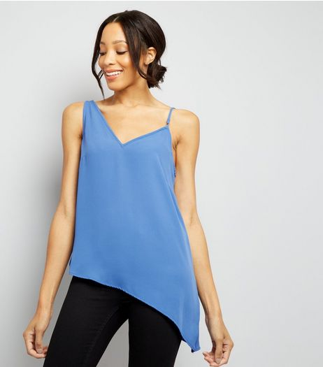 Blue Aysmmetric Hem Cami Top | New Look