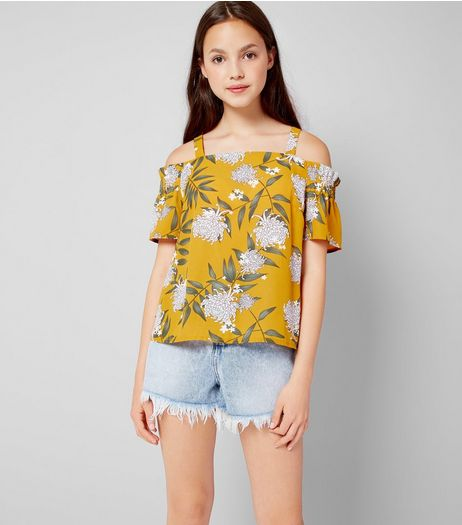 Teens Yellow Floral Print Cold Shoulder Top | New Look
