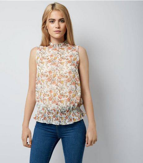 White Floral Shirred Waist Blouse | New Look