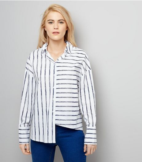White Stripe Deconstructed Hem Shirt | New Look