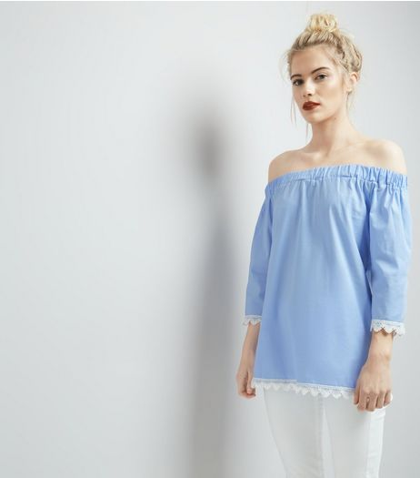 Cameo Rose Blue Crochet Trim Bardot Top | New Look