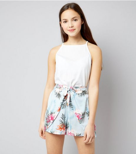 Teens Pale Blue Tropical Print Tie Front Shorts | New Look