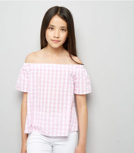 Teens Pink Gingham Seersucker Bardot Neck Top | New Look