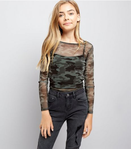 Teens Green Camo Print Sheer Top | New Look