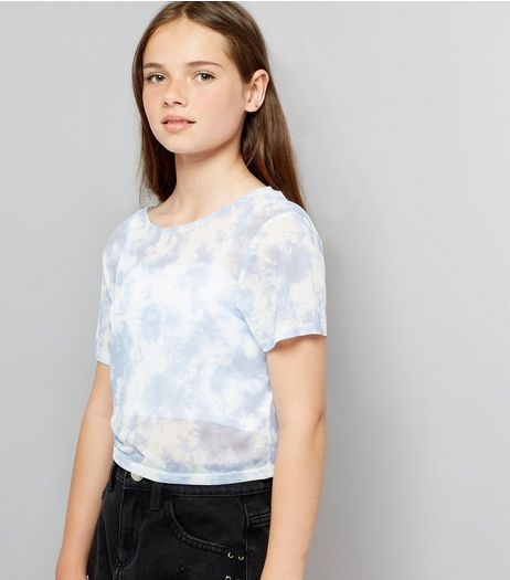 Teens Pale Blue Tie Dye Mesh Crop T-Shirt | New Look