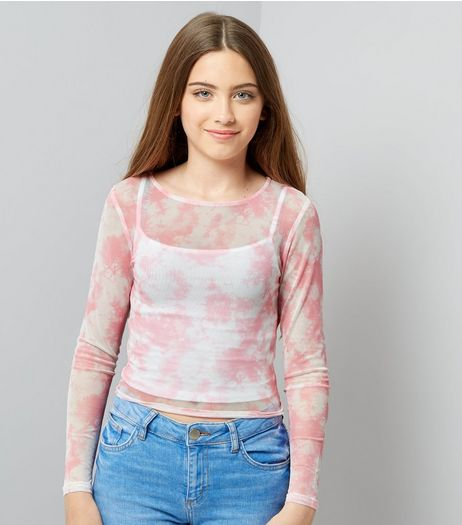 Teens Pink Tie Dye Mesh Top | New Look