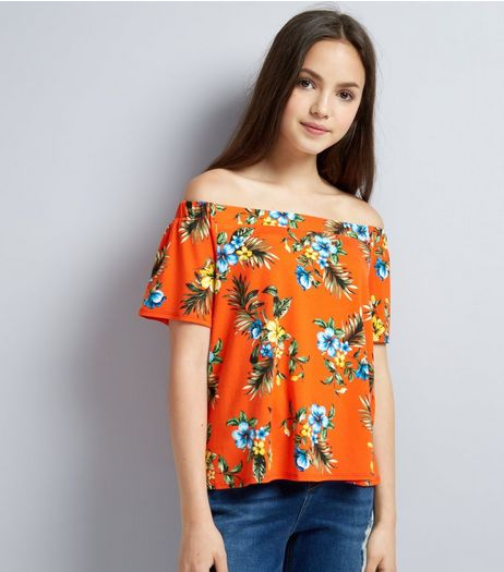 Teens Orange Tropical Print Bardot Neck Top | New Look