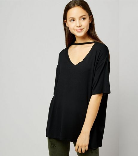 Teens Black Choker Neck Oversized T-Shirt | New Look
