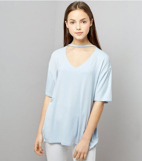 Teens Pale Blue Choker Neck Oversized T-Shirt | New Look