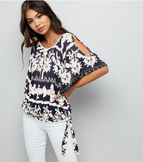 Blue Vanilla Navy Floral Braided Tassel Trim Cold Shoulder Top | New Look