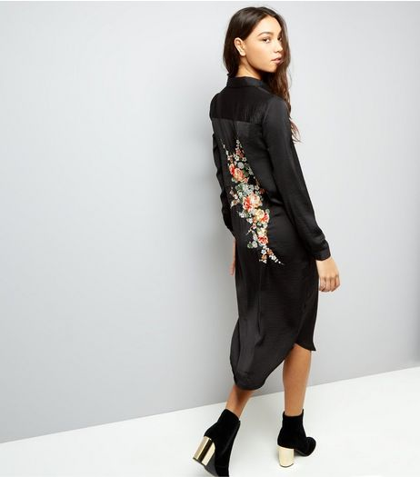 Blue Vanilla Black Floral Embroidered Satin Longline Shirt | New Look