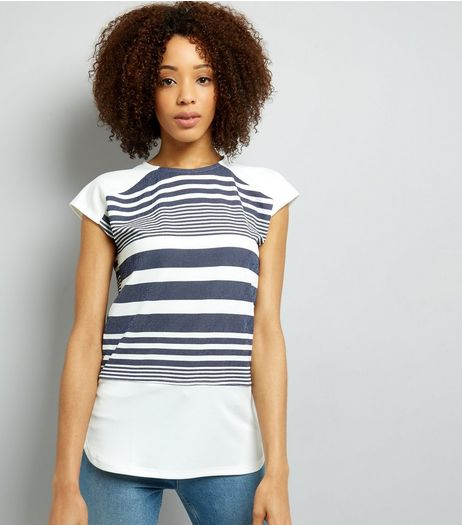 Blue Vanilla Navy Stripe T-Shirt  | New Look