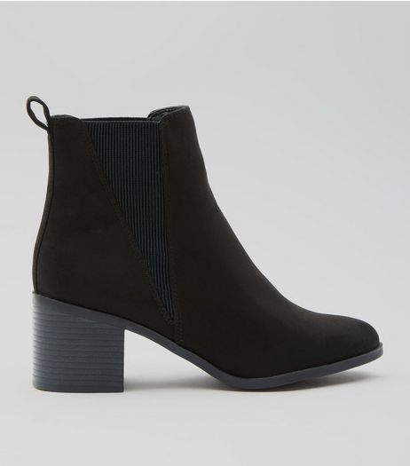Black Suedette Elasticated Side Ankle Boots | New Look