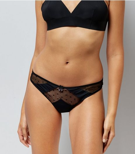 Black Spot Texture Mesh Thong  | New Look