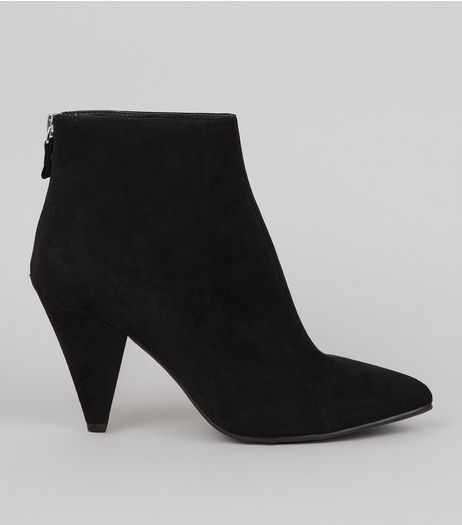 Black Suedette Cone Heel Ankle Boots | New Look
