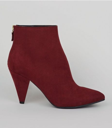 Red Suedette Cone Heel Pointed Boots | New Look