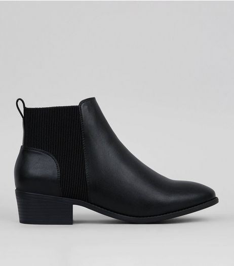 Black Elasticated Side Chelsea Boots | New Look