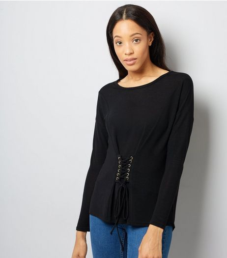 Blue Vanilla Black Corset Long Sleeve Top | New Look