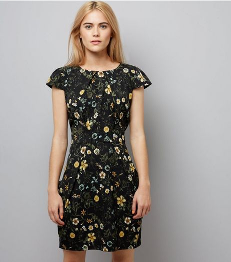 Blue Vanilla Black Floral Print Tulip Dress | New Look