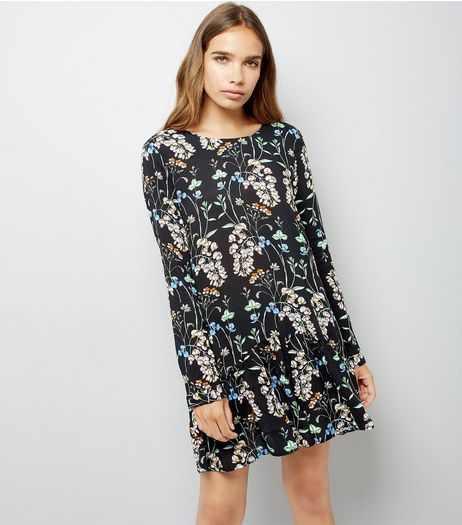 Blue Vanilla Black Floral Print Playsuit | New Look