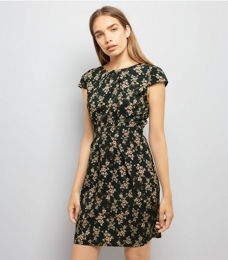 Blue Vanilla Green Floral Print Tulip Dress  | New Look