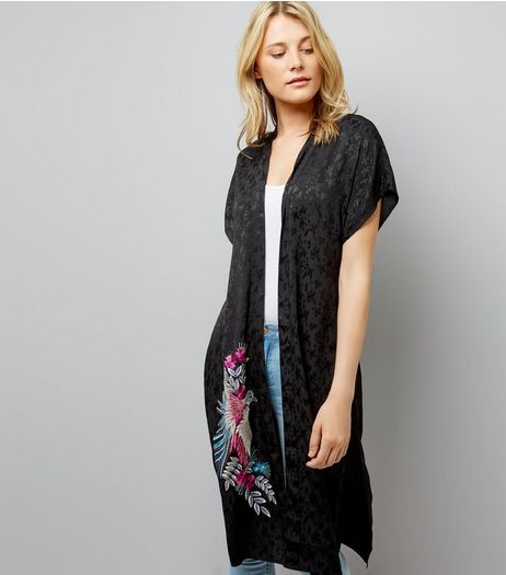 Black Embroidered Bird Longline Kimono | New Look