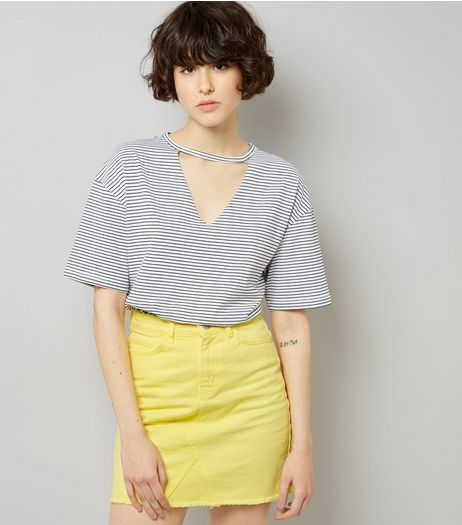 Yellow Seam Trim Denim Skirt  | New Look