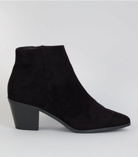 Black Suedette Western Ankle Boots  | New Look