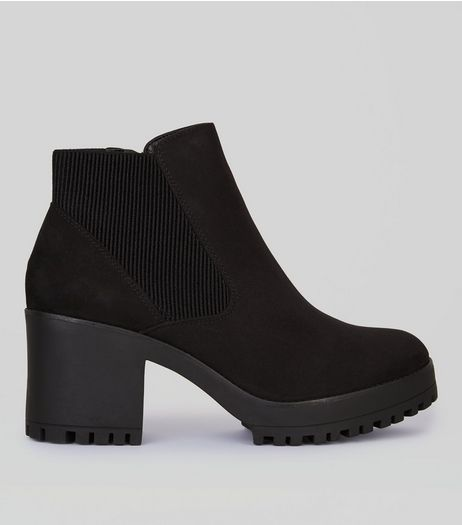 Black Chelsea Block Heel Ankle Boots | New Look