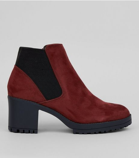 Burgundy Suedette Chelsea Boots | New Look