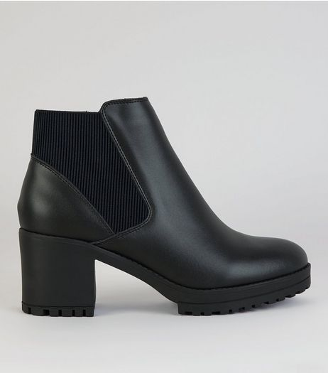 Black Leather Chunky Heel Boots | New Look
