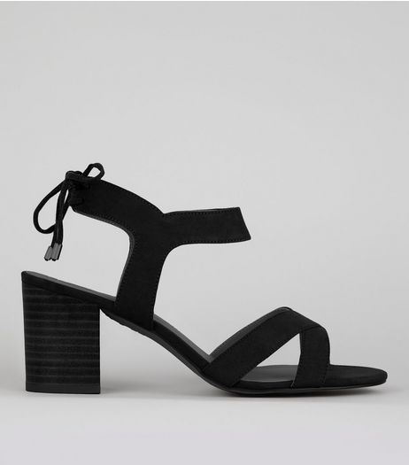 Black Ankle Tie Up Sandals | New Look